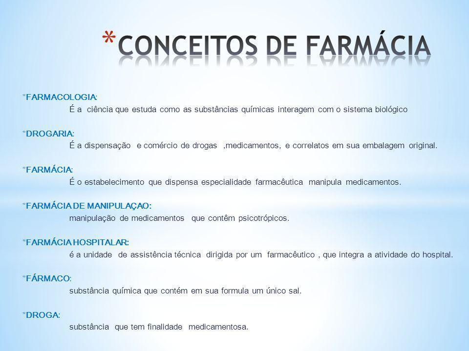 *FARMACOLOGIA: É a ciência que estuda como as substâncias químicas interagem com o sistema biológico *DROGARIA: É a dispensação e comércio de drogas,m