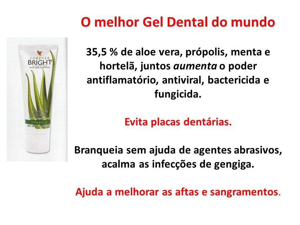O melhor Gel Dental do mundo 35,5 % de aloe vera, própolis, menta e hortelã, juntos aumenta o poder antiflamatório, antiviral, bactericida e fungicida