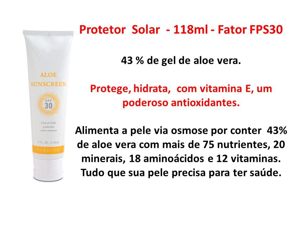 Protetor Solar - 118ml - Fator FPS30 43 % de gel de aloe vera. Protege, hidrata, com vitamina E, um poderoso antioxidantes. Alimenta a pele via osmose