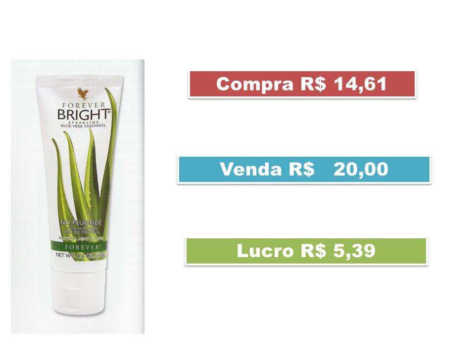 Compra R$ 14,61 Lucro R$ 5,39 Venda R$ 20,00