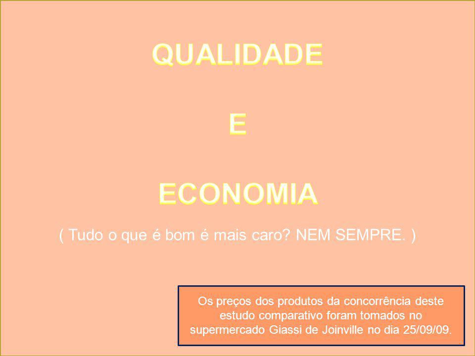 Os preços dos produtos da concorrência deste estudo comparativo foram tomados no supermercado Giassi de Joinville no dia 25/09/09.