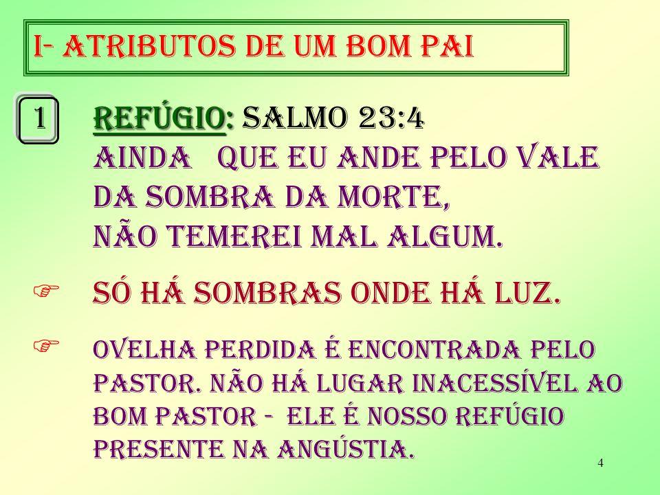 4 I- ATRIBUTOS DE UM BOM PAI REFÚGIO: 1REFÚGIO: Salmo 23:4 AINDA QUE EU ANDE PELO VALE DA SOMBRA DA MORTE, NÃO TEMEREI MAL ALGUM.