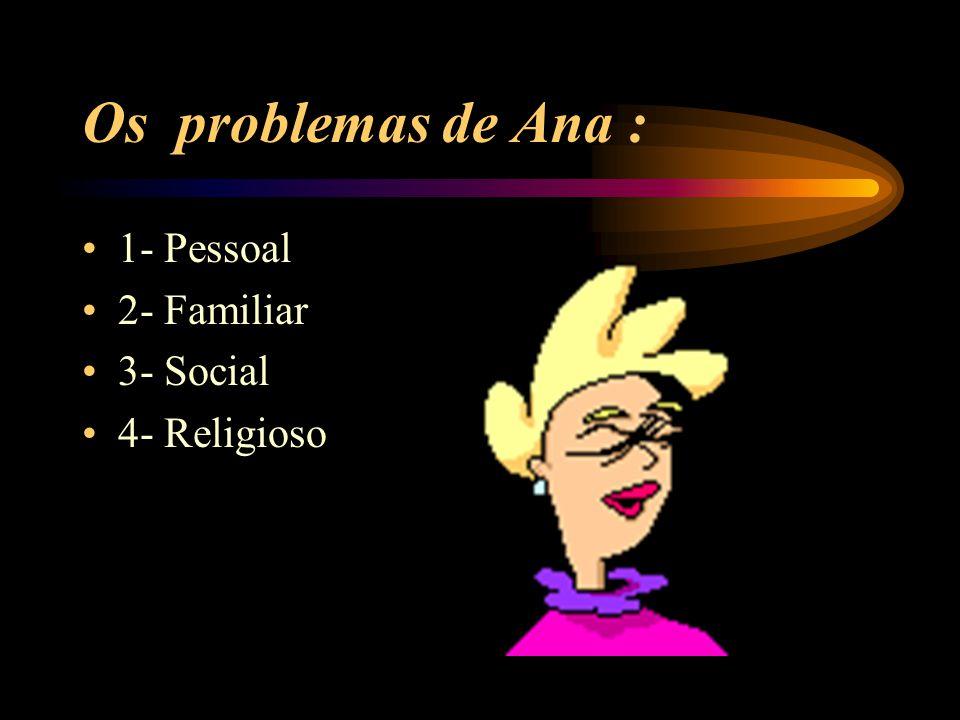 Os problemas de Ana : 1- Pessoal 2- Familiar 3- Social 4- Religioso