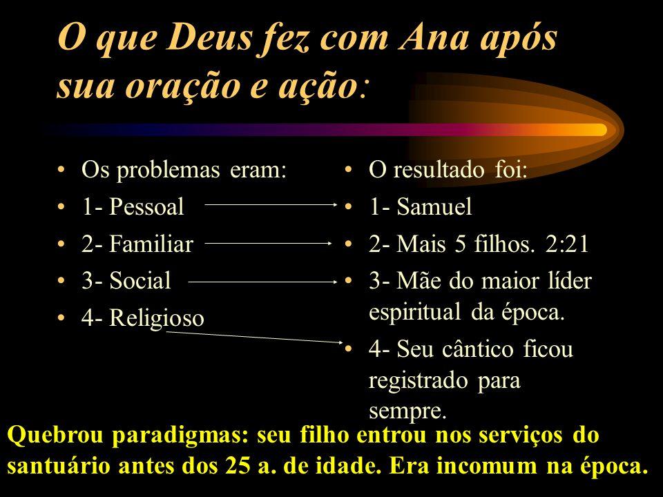 O que Deus fez com Ana após sua oração e ação: Os problemas eram: 1- Pessoal 2- Familiar 3- Social 4- Religioso O resultado foi: 1- Samuel 2- Mais 5 filhos.