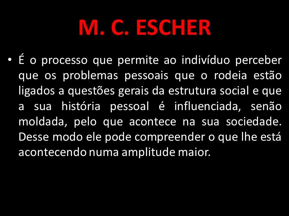 M. C. ESCHER É o processo que permite ao indivíduo perceber que os problemas pessoais que o rodeia estão ligados a questões gerais da estrutura social