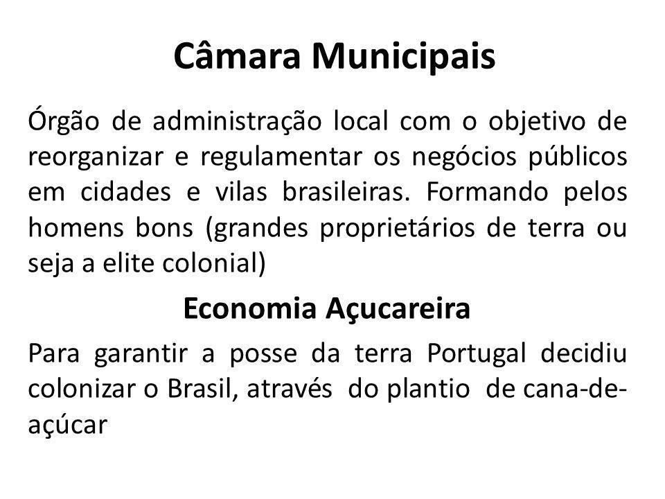 Câmara Municipais Órgão de administração local com o objetivo de reorganizar e regulamentar os negócios públicos em cidades e vilas brasileiras. Forma