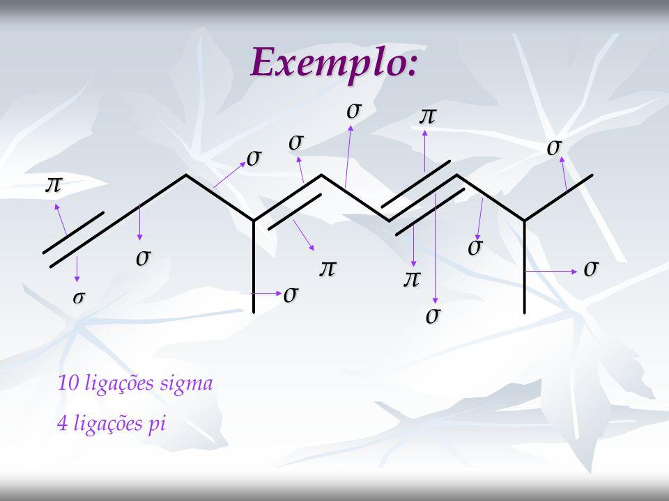 Exemplo: σ σ σ σ σ σ σ σ σ σπ π π π 10 ligações sigma 4 ligações pi