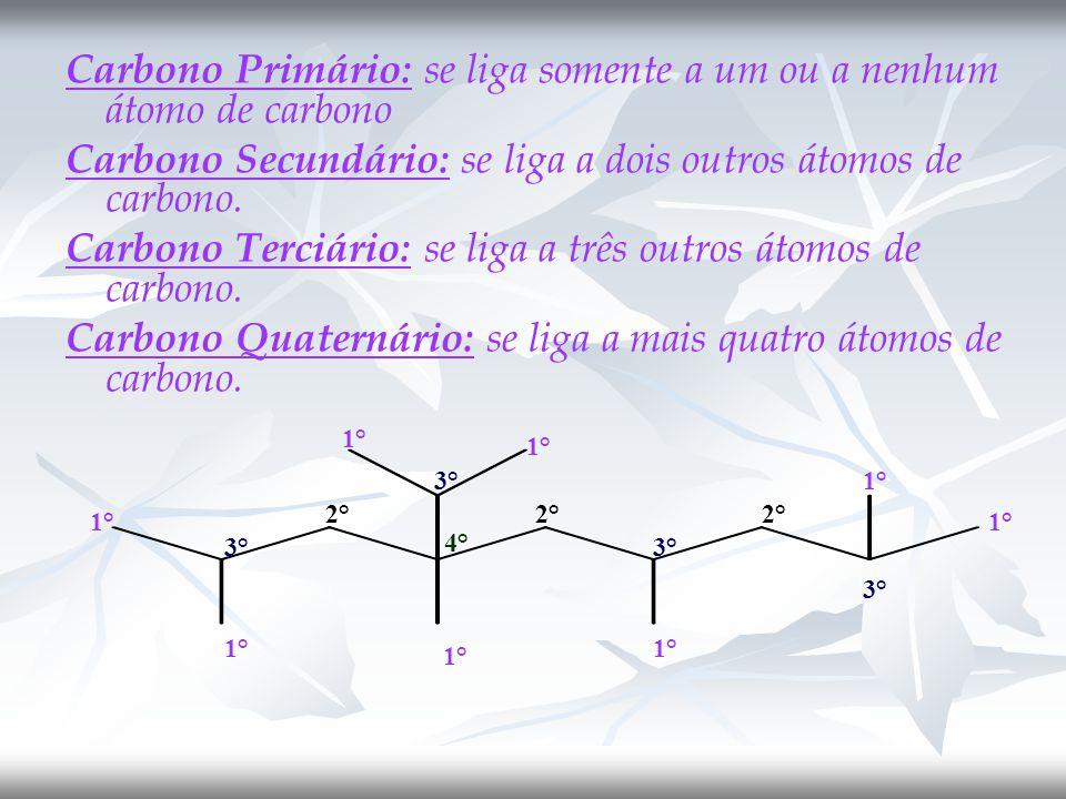 Carbono Primário: se liga somente a um ou a nenhum átomo de carbono Carbono Secundário: se liga a dois outros átomos de carbono.