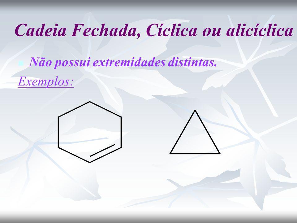 Cadeia Fechada, Cíclica ou alicíclica Não possui extremidades distintas. Exemplos: