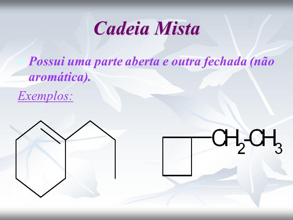 Cadeia Mista Possui uma parte aberta e outra fechada (não aromática). Exemplos: