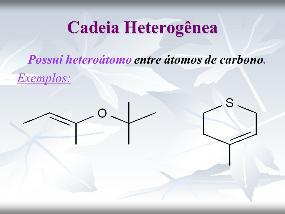 Cadeia Heterogênea Possui heteroátomo entre átomos de carbono. Exemplos: