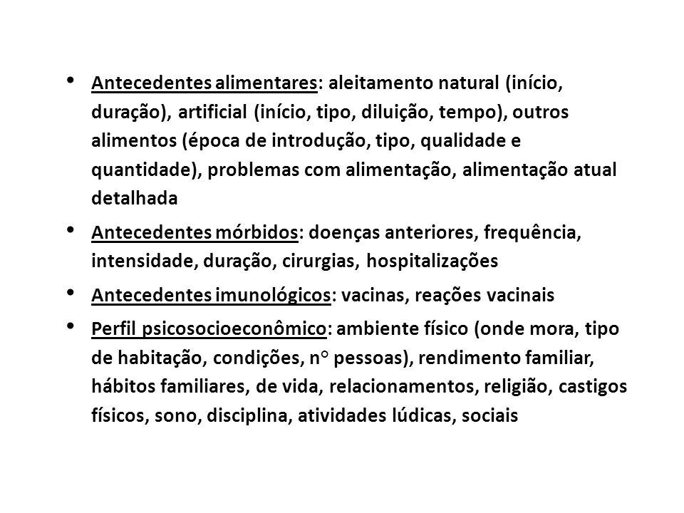 Antecedentes alimentares: aleitamento natural (início, duração), artificial (início, tipo, diluição, tempo), outros alimentos (época de introdução, ti