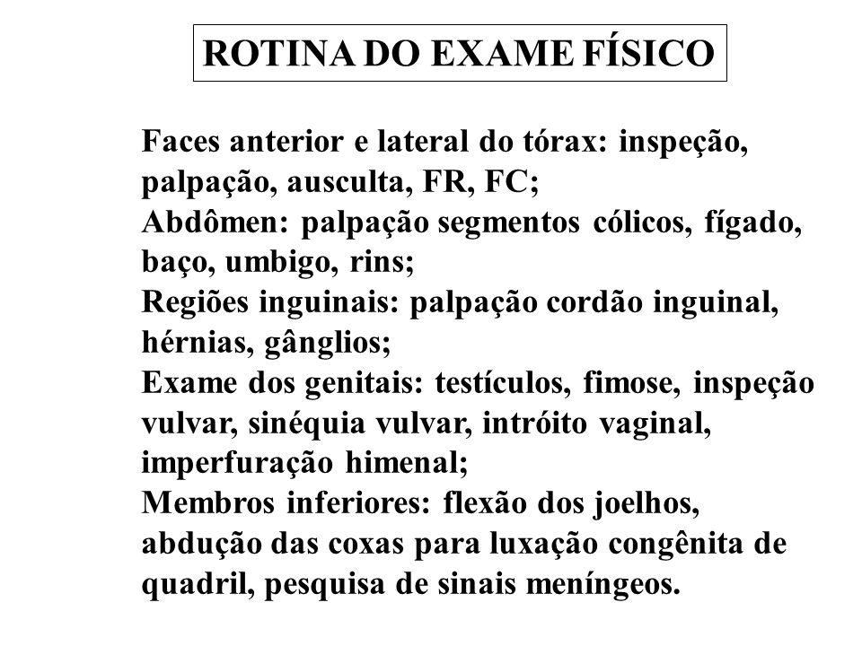 ROTINA DO EXAME FÍSICO Faces anterior e lateral do tórax: inspeção, palpação, ausculta, FR, FC; Abdômen: palpação segmentos cólicos, fígado, baço, umb