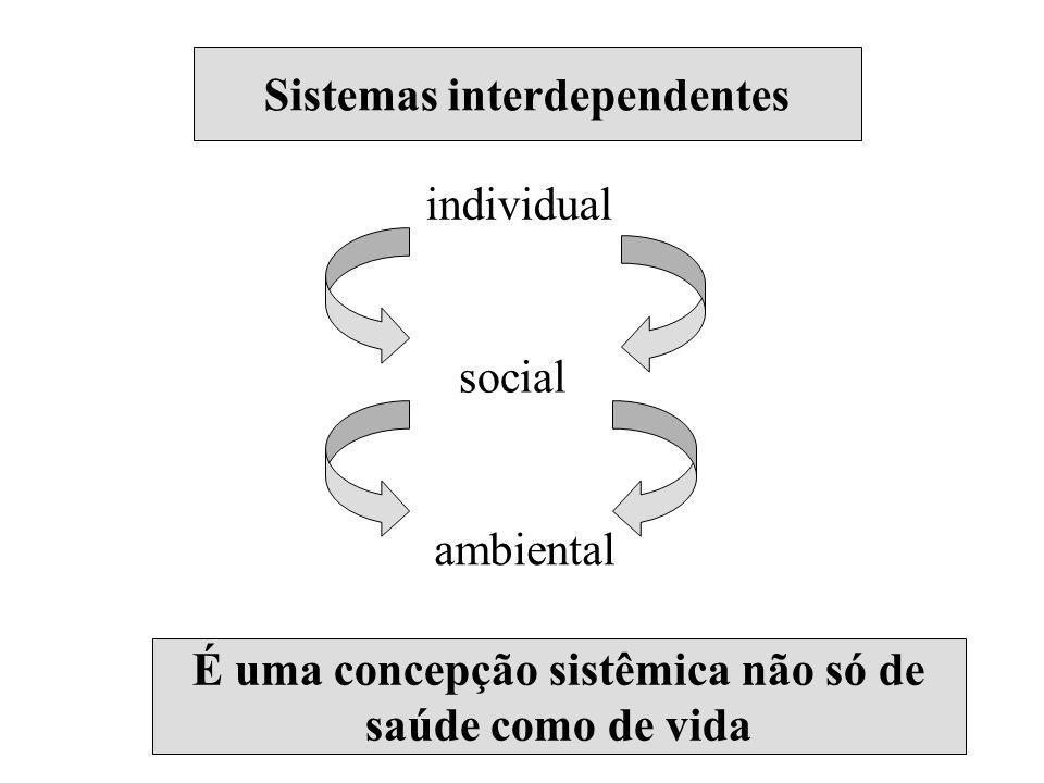 Sistemas interdependentes individual social ambiental É uma concepção sistêmica não só de saúde como de vida