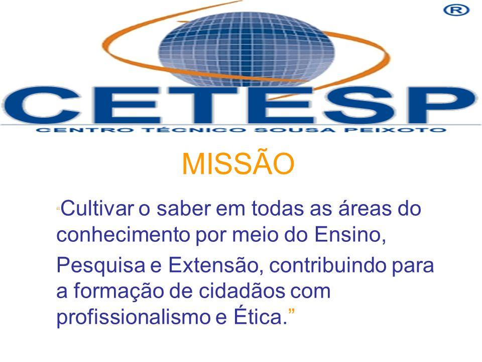 MISSÃO Cultivar o saber em todas as áreas do conhecimento por meio do Ensino, Pesquisa e Extensão, contribuindo para a formação de cidadãos com profissionalismo e Ética.