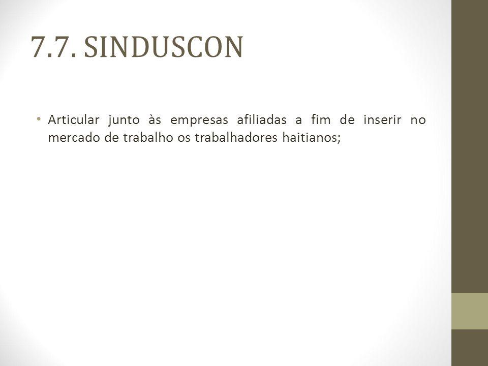 7.7. SINDUSCON Articular junto às empresas afiliadas a fim de inserir no mercado de trabalho os trabalhadores haitianos;