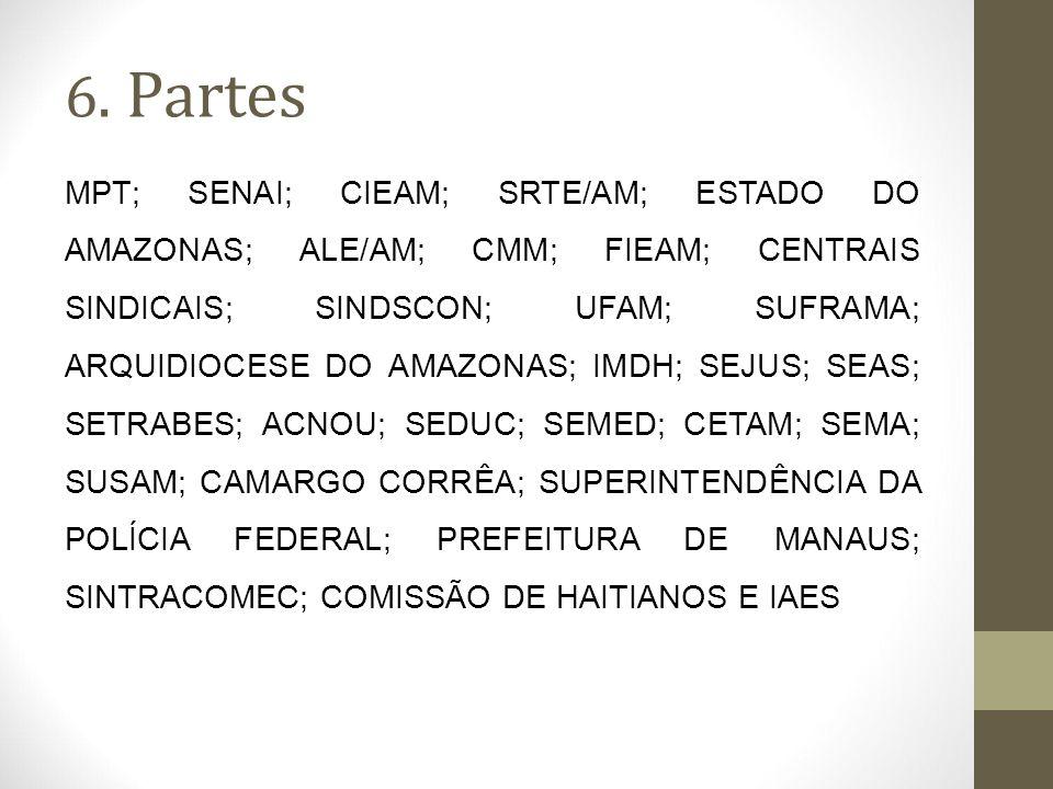 6. Partes MPT; SENAI; CIEAM; SRTE/AM; ESTADO DO AMAZONAS; ALE/AM; CMM; FIEAM; CENTRAIS SINDICAIS; SINDSCON; UFAM; SUFRAMA; ARQUIDIOCESE DO AMAZONAS; I