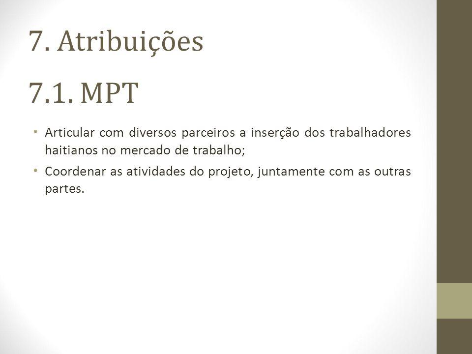 7.1. MPT Articular com diversos parceiros a inserção dos trabalhadores haitianos no mercado de trabalho; Coordenar as atividades do projeto, juntament