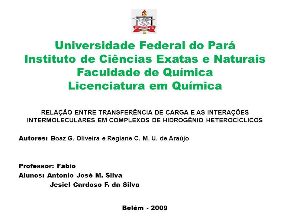 Universidade Federal do Pará Instituto de Ciências Exatas e Naturais Faculdade de Química Licenciatura em Química RELAÇÃO ENTRE TRANSFERÊNCIA DE CARGA