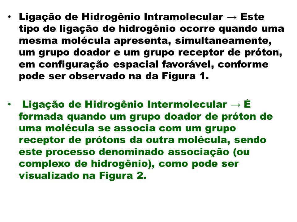Ligação de Hidrogênio Intramolecular Este tipo de ligação de hidrogênio ocorre quando uma mesma molécula apresenta, simultaneamente, um grupo doador e