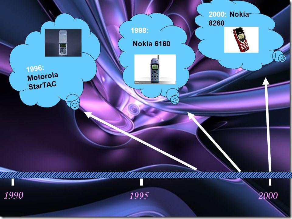 1990 19952000 1996: Motorola StarTAC 1998: Nokia 6160 2000: Nokia 8260