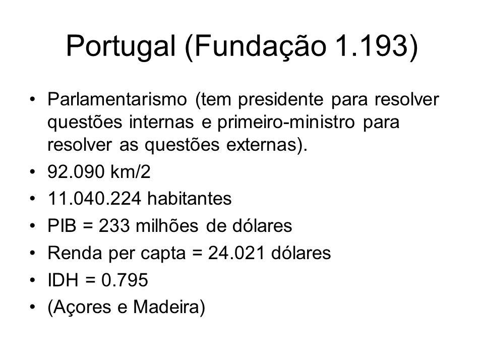 Portugal (Fundação 1.193) Parlamentarismo (tem presidente para resolver questões internas e primeiro-ministro para resolver as questões externas). 92.