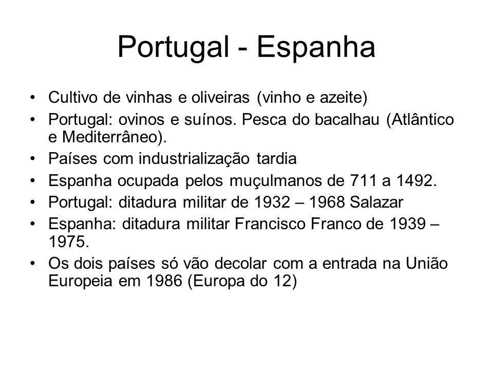 Portugal - Espanha Cultivo de vinhas e oliveiras (vinho e azeite) Portugal: ovinos e suínos. Pesca do bacalhau (Atlântico e Mediterrâneo). Países com