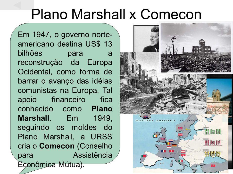Plano Marshall x Comecon Em 1947, o governo norte- americano destina US$ 13 bilhões para a reconstrução da Europa Ocidental, como forma de barrar o av