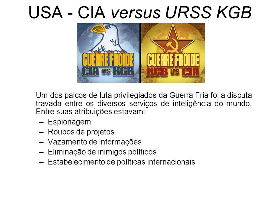 USA - CIA versus URSS KGB Um dos palcos de luta privilegiados da Guerra Fria foi a disputa travada entre os diversos serviços de inteligência do mundo