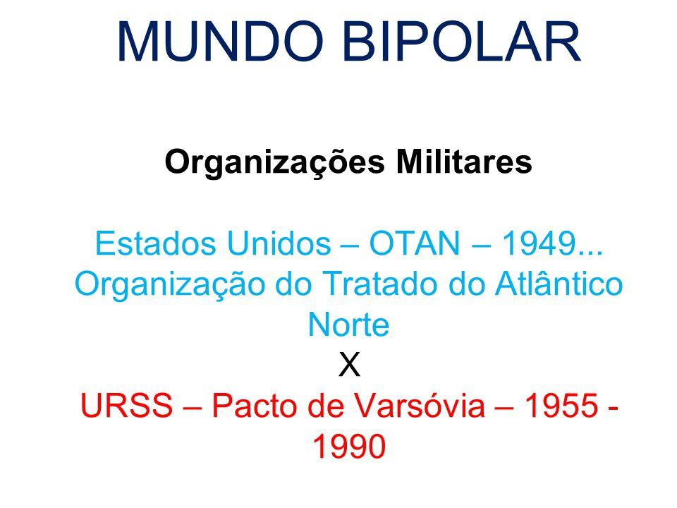 MUNDO BIPOLAR Organizações Militares Estados Unidos – OTAN – 1949... Organização do Tratado do Atlântico Norte X URSS – Pacto de Varsóvia – 1955 - 199