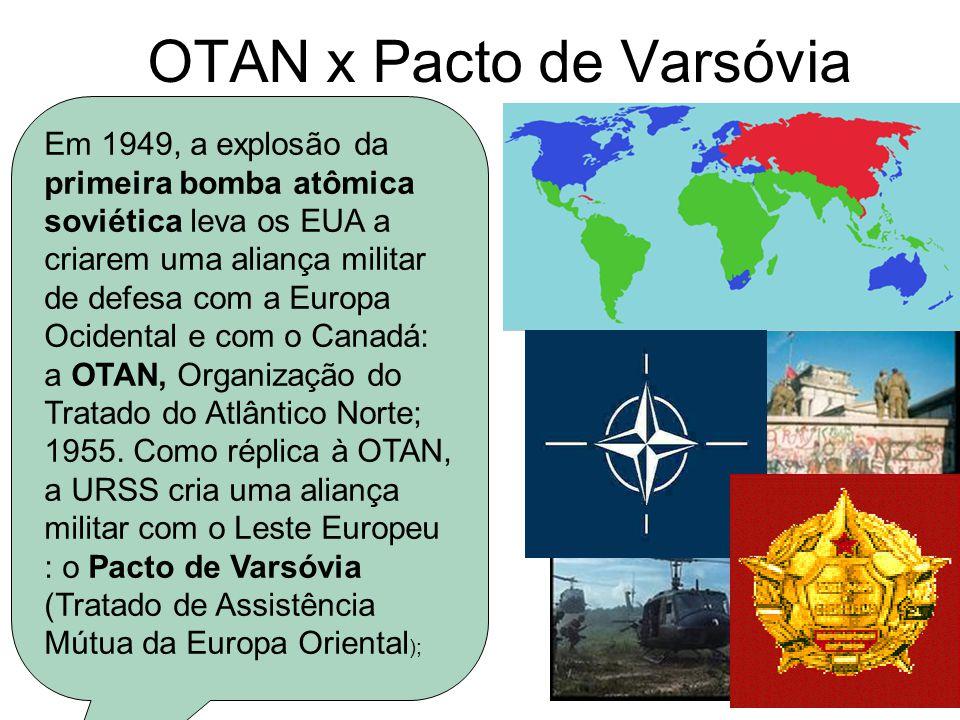 OTAN x Pacto de Varsóvia Em 1949, a explosão da primeira bomba atômica soviética leva os EUA a criarem uma aliança militar de defesa com a Europa Ocid