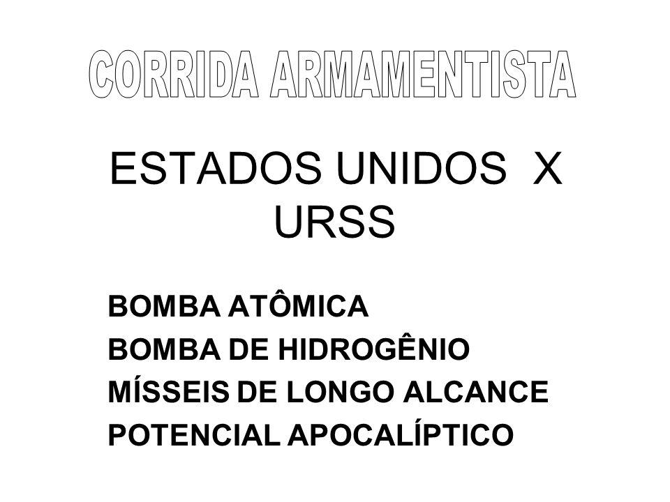 ESTADOS UNIDOS X URSS BOMBA ATÔMICA BOMBA DE HIDROGÊNIO MÍSSEIS DE LONGO ALCANCE POTENCIAL APOCALÍPTICO