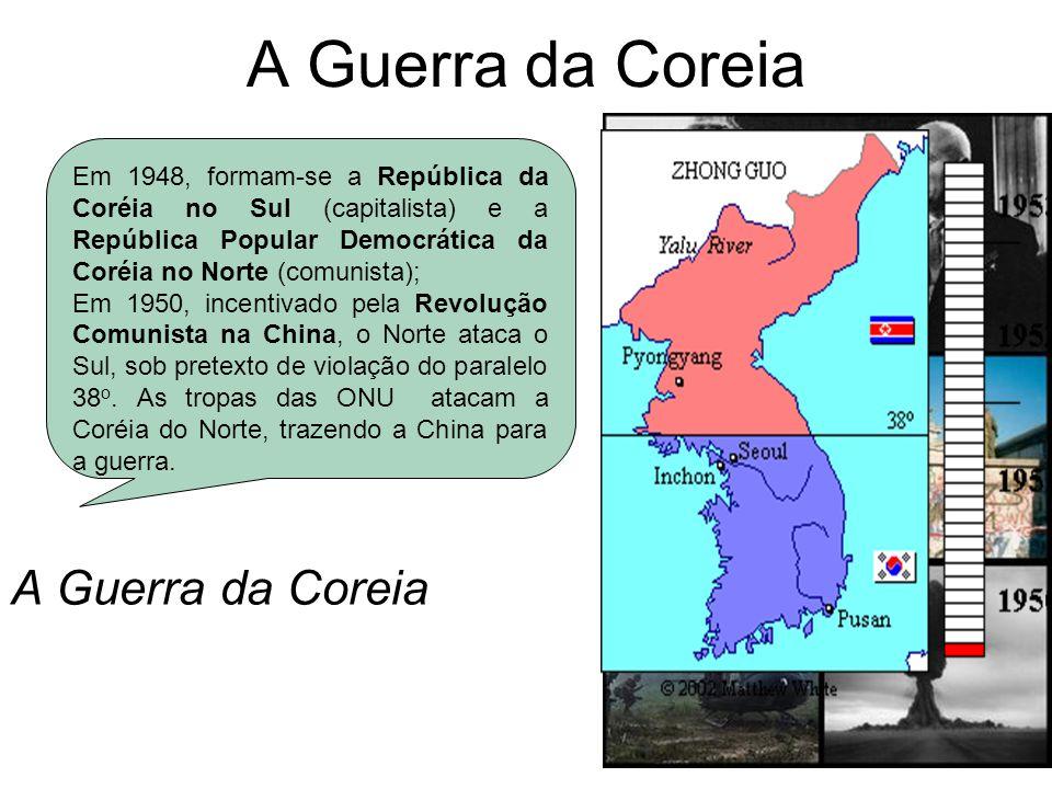A Guerra da Coreia Em 1948, formam-se a República da Coréia no Sul (capitalista) e a República Popular Democrática da Coréia no Norte (comunista); Em