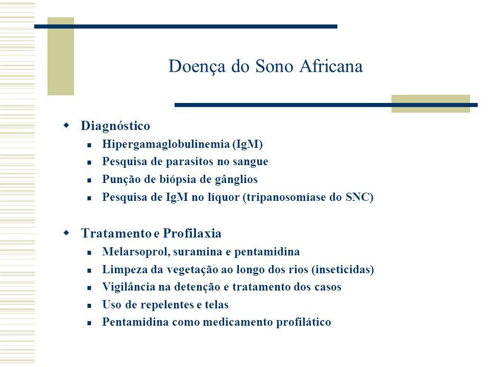 Doença do Sono Africana Diagnóstico Hipergamaglobulinemia (IgM) Pesquisa de parasitos no sangue Punção de biópsia de gânglios Pesquisa de IgM no líquo
