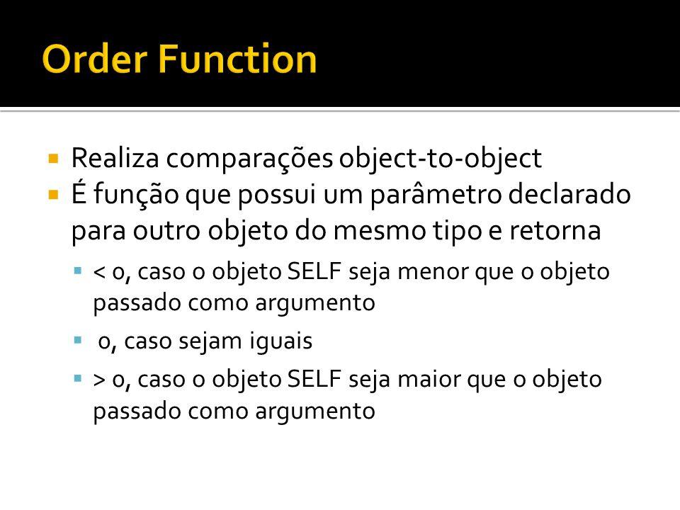 Realiza comparações object-to-object É função que possui um parâmetro declarado para outro objeto do mesmo tipo e retorna < 0, caso o objeto SELF seja