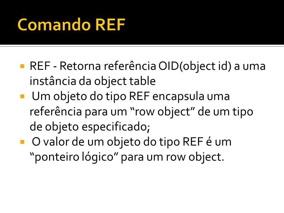 REF - Retorna referência OID(object id) a uma instância da object table Um objeto do tipo REF encapsula uma referência para um row object de um tipo d