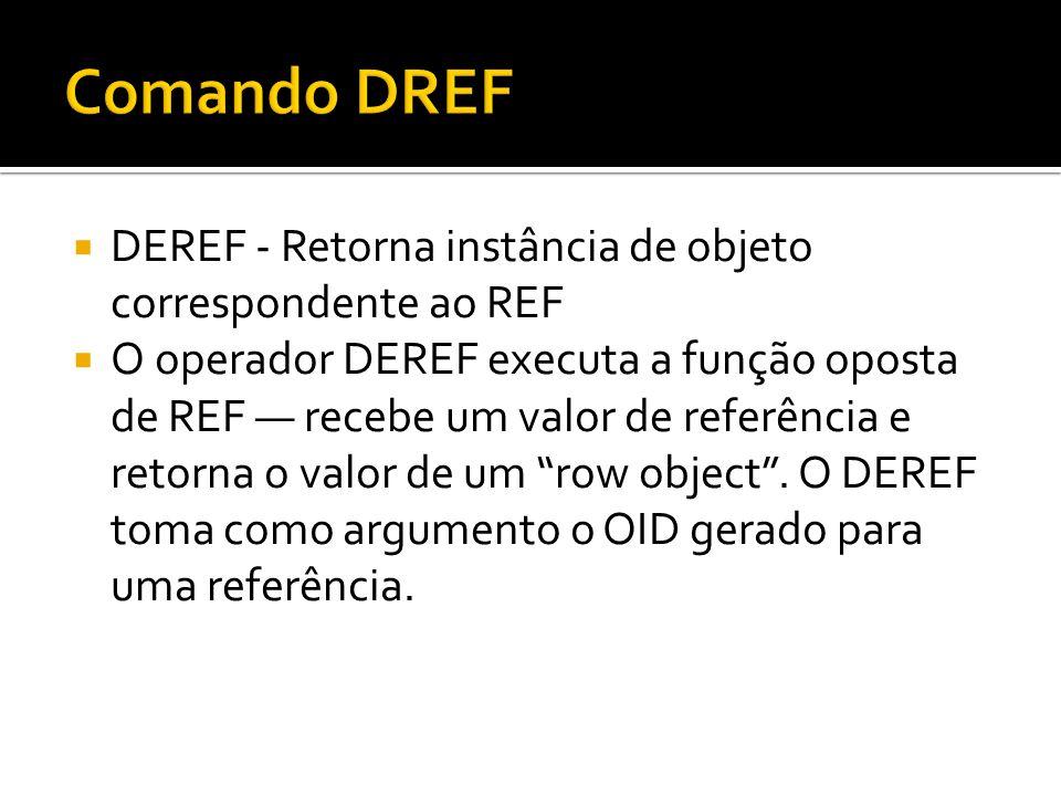 DEREF - Retorna instância de objeto correspondente ao REF O operador DEREF executa a função oposta de REF recebe um valor de referência e retorna o va