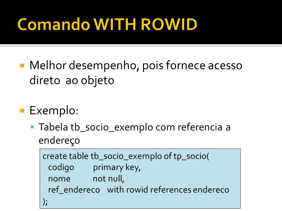 Melhor desempenho, pois fornece acesso direto ao objeto Exemplo: Tabela tb_socio_exemplo com referencia a endereço create table tb_socio_exemplo of tp