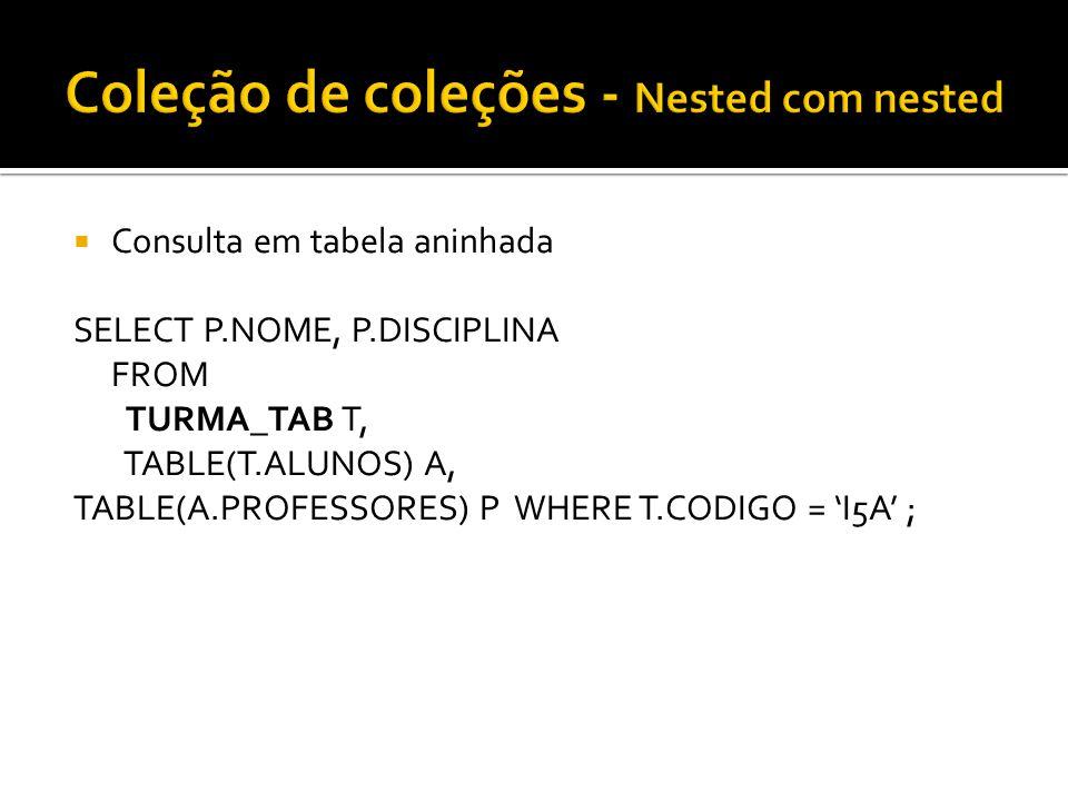 Consulta em tabela aninhada SELECT P.NOME, P.DISCIPLINA FROM TURMA_TAB T, TABLE(T.ALUNOS) A, TABLE(A.PROFESSORES) P WHERE T.CODIGO = I5A ;