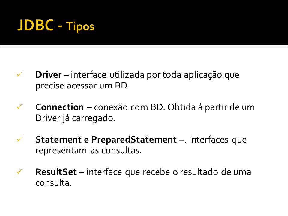 Driver – interface utilizada por toda aplicação que precise acessar um BD. Connection – conexão com BD. Obtida á partir de um Driver já carregado. Sta