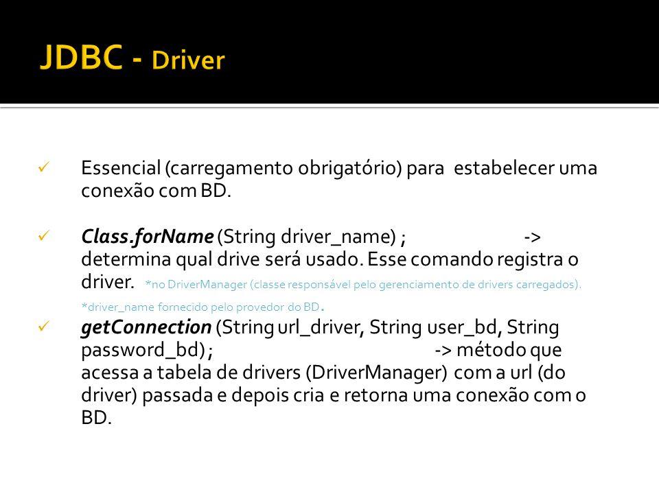 Essencial (carregamento obrigatório) para estabelecer uma conexão com BD. Class.forName (String driver_name) ; -> determina qual drive será usado. Ess