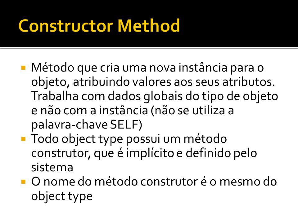 Método que cria uma nova instância para o objeto, atribuindo valores aos seus atributos. Trabalha com dados globais do tipo de objeto e não com a inst