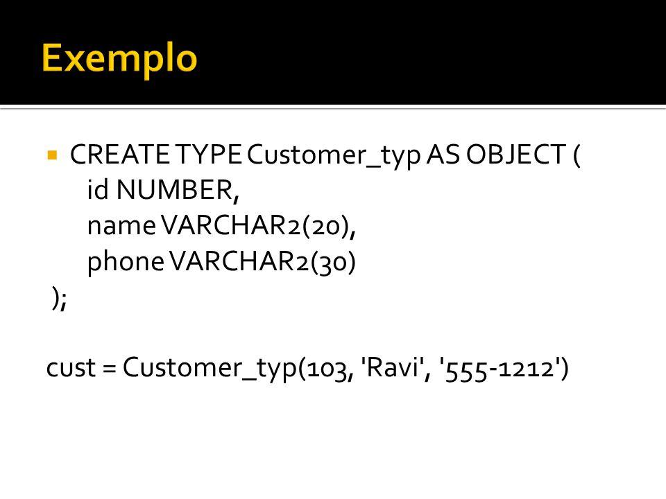 Sintaxe para inserção de aluno e professor INSERT INTO TURMA_TAB VALUES ( I5A , D005 , NT_ALUNO_T( ALUNO_TYPE(210141500, NT_PROF_T( PROFESSOR_TYPE(Manoel ,Sistemas Digitais ), PROFESSOR_TYPE(Ruy ,Logica ) ) ),