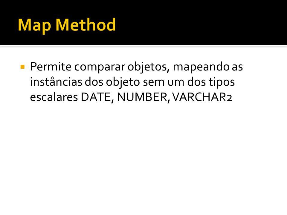 Permite comparar objetos, mapeando as instâncias dos objeto sem um dos tipos escalares DATE, NUMBER, VARCHAR2