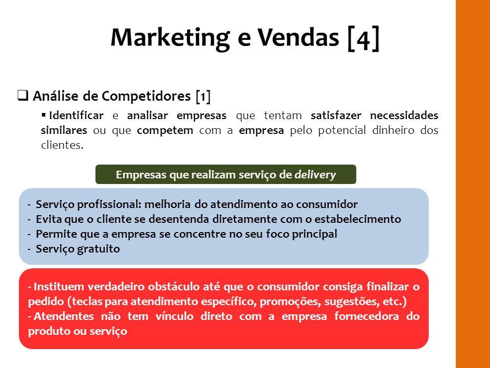 Marketing e Vendas [4] Análise de Competidores [1] Identificar e analisar empresas que tentam satisfazer necessidades similares ou que competem com a