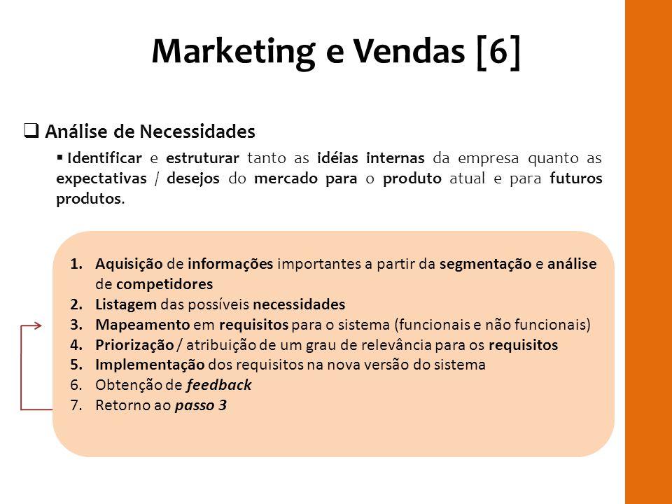 Marketing e Vendas [6] Análise de Necessidades Identificar e estruturar tanto as idéias internas da empresa quanto as expectativas / desejos do mercad