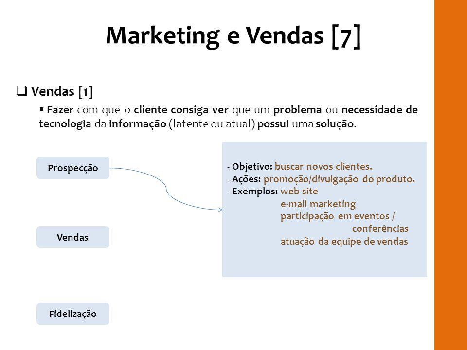 Marketing e Vendas [7] Vendas [1] Fazer com que o cliente consiga ver que um problema ou necessidade de tecnologia da informação (latente ou atual) po