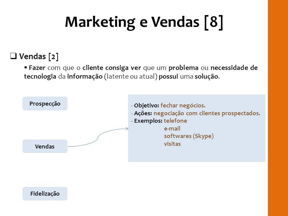 Marketing e Vendas [8] Vendas [2] Fazer com que o cliente consiga ver que um problema ou necessidade de tecnologia da informação (latente ou atual) po