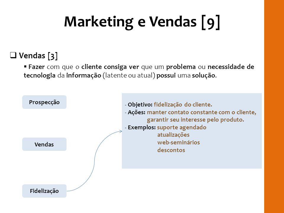Marketing e Vendas [9] Vendas [3] Fazer com que o cliente consiga ver que um problema ou necessidade de tecnologia da informação (latente ou atual) po