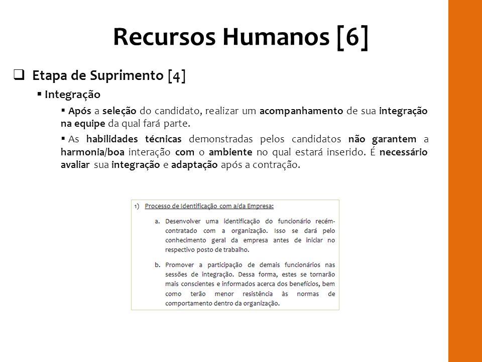 Recursos Humanos [6] Etapa de Suprimento [4] Integração Após a seleção do candidato, realizar um acompanhamento de sua integração na equipe da qual fa